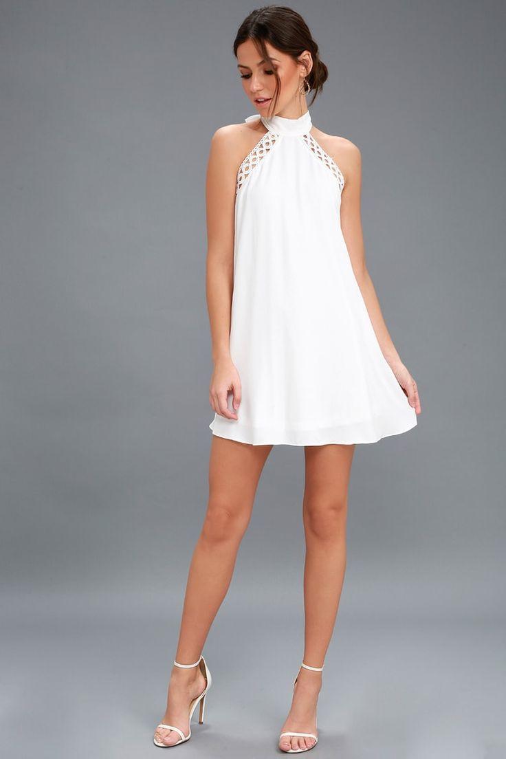Lulus | Vestido de renda branca com baloiços, formas ou formas | Tamanho médio | 100% poliéster