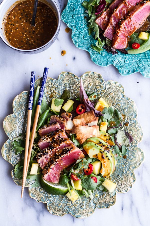 Seared Ahi Tuna Poke Salad with Hula Ginger vinaigrette + Wonton Crisps by halfbakedharvest #Salad #Ahi #Tuna #Healthy