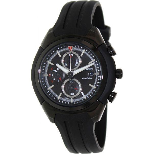 Eco-Drive Citizen CA0285-01E Mens Watch Chronograph Black Dial Black Rubber Band