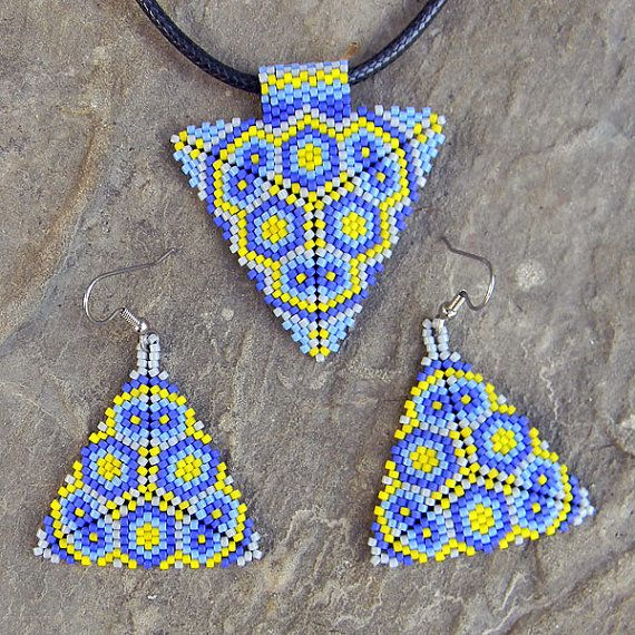 Colorful peyote triangle seed bead earrings in by Anabel27shop
