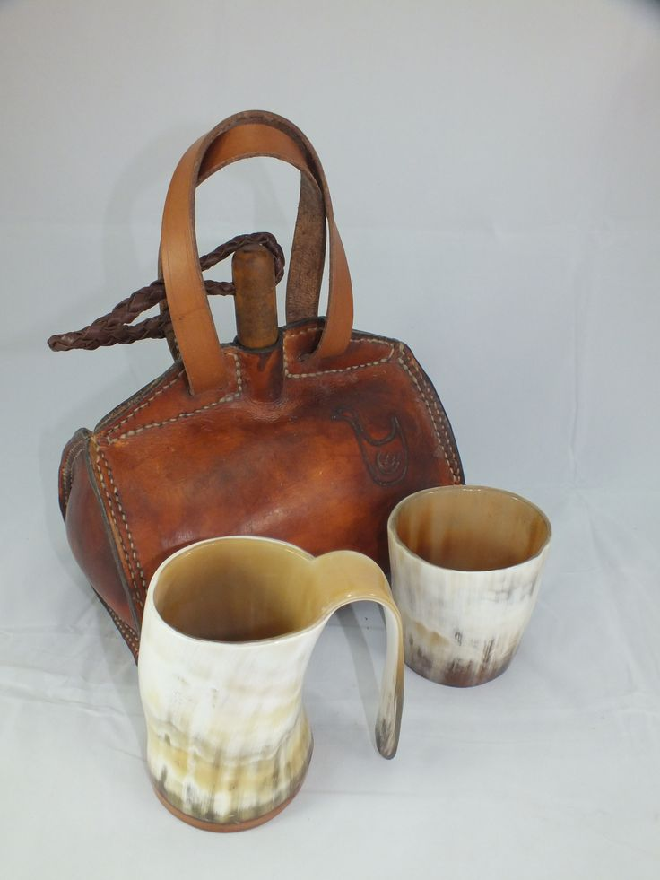 Horn mug & beaker with my leather waterbottle