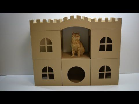 96 How To Make Amazing Cat Pet House From Cardboard Youtube Cat House Diy Cardboard Cat House Cat House