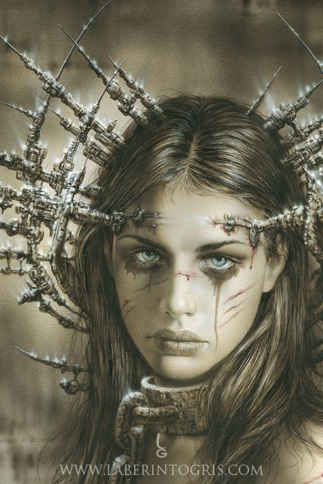 THE ANNOUNCEMENT by Luis Royo http://www.laberintogris.com/en/37-the-announcement.html Sky blue eyes are the only ornament of her tormented face. A futuristic steel crown is stuck deep into the flesh of the girl. There are no more tears, that have made the makeup flow, fruit of wounds and shackle collar.