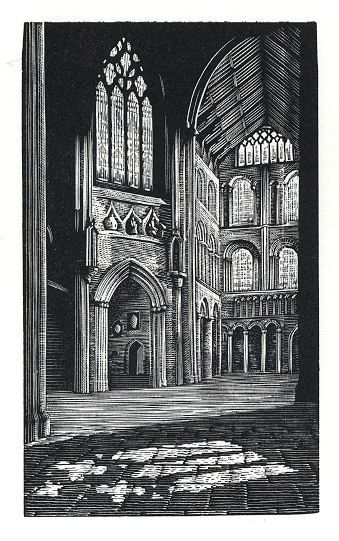 Andy English: Places And People: Light, Ely - wood engraving