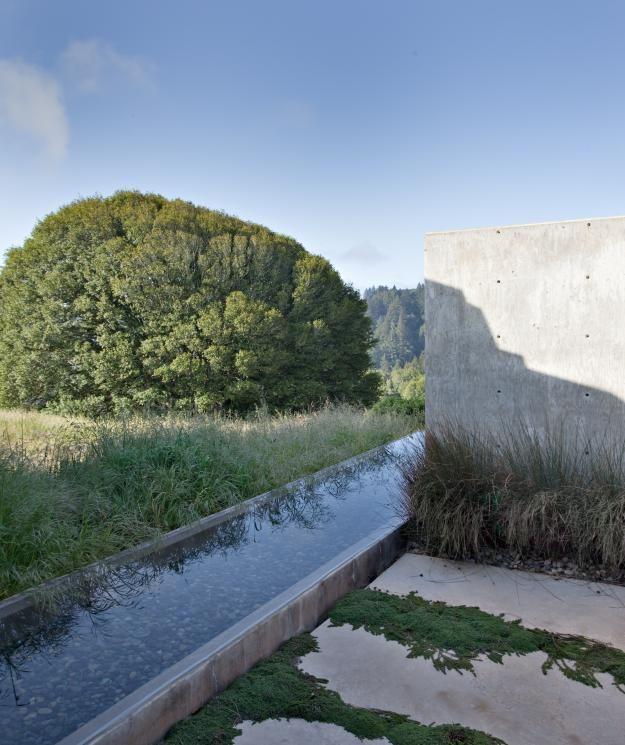 Patio with water rill designed by Bernard Trainor