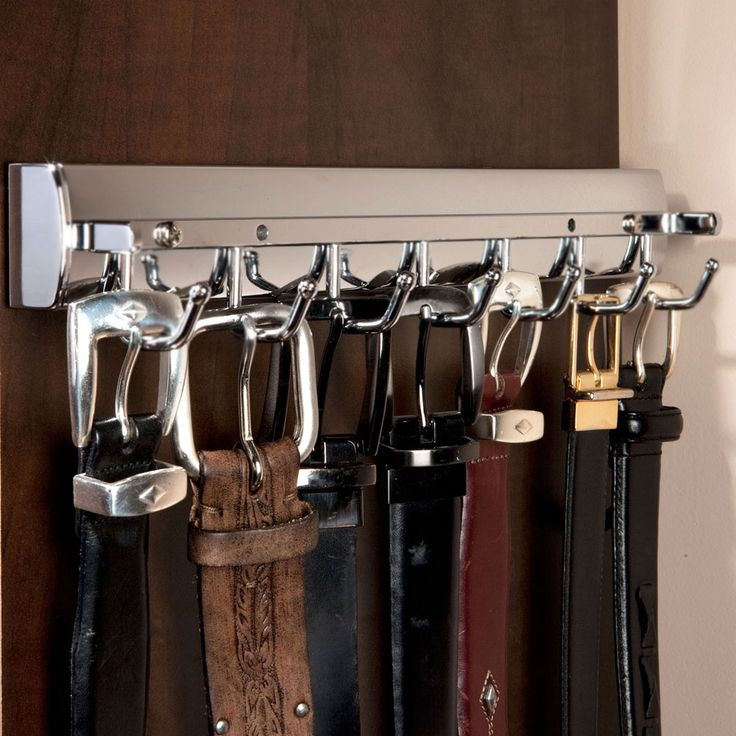 Elite Sliding Belt Rack - Satin Nickel - provides slide-out storage for belts in your closet or behind a door.