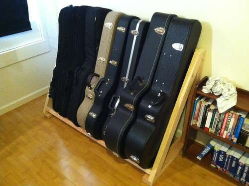 Diy pvc multiple guitar stand guitar case cases and offices for Homemade rack case