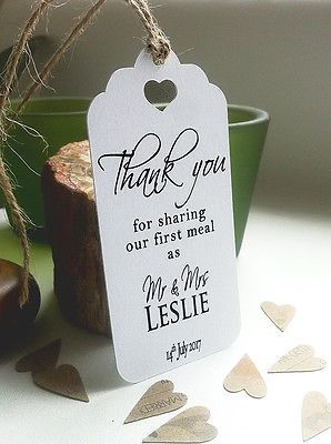 Thank You For Sharing Our First Meal Personalised Wedding Tag Contemporary PlSmH