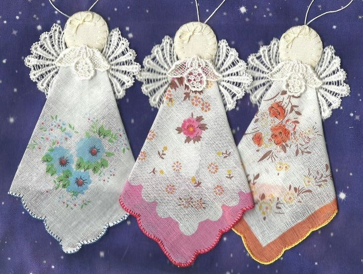 12  Angels Handmade, embroidery,  lace,  handkerchief, ornaments #5896