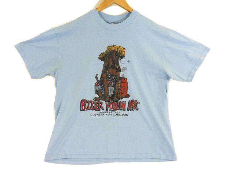 VTG 80s Booger Hollow Arkansas Tourist T-Shirt - Medium - 50/50 - Thin Shirt - Blue - Coon Dog - Bloodhound - Vintage Tee Vintage Clothing - by BLACKMAGIKA on Etsy