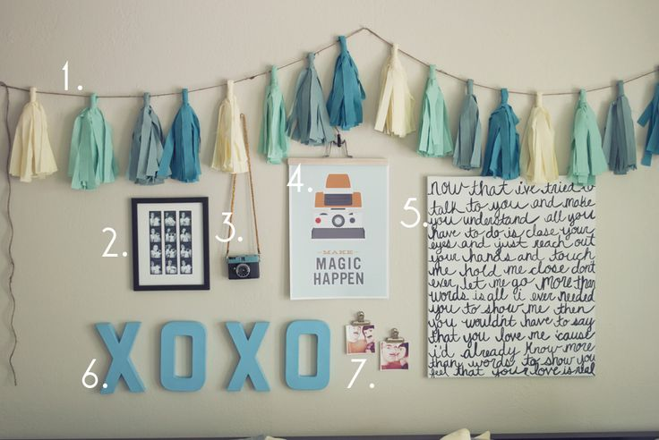 Cheap Teen wall stuff for girls | DIY Cheap Bedroom Wall Art in Blue Color Scheme - Use J/K to navigate ...