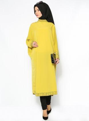 Taşlı Tunik Ferace - Sarı - Güzel Moda :: HoopSepete