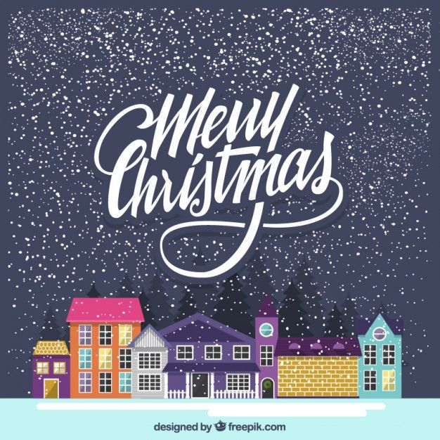 Merry christmas background with colorful houses Free Vector