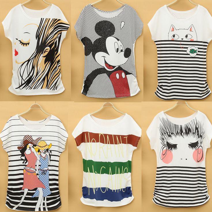 2014 t-shirt verão femininas roupas de desenhos animados manga curta de manga curta T-shirt manga roupas juniores batwing US $5.00