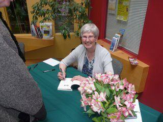 Jill MacLean at a book signing for NIX MINUS ONE.