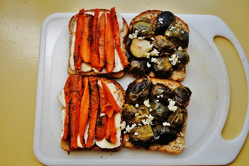 brussel sprout carrot brie honey rosemary grilled cheeses….omg ...