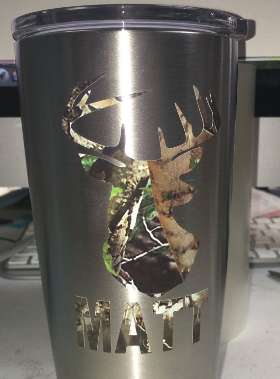Camo Deer Head And Rifle Guns Personalized Decal Yeti Tumbler With Monogram Or