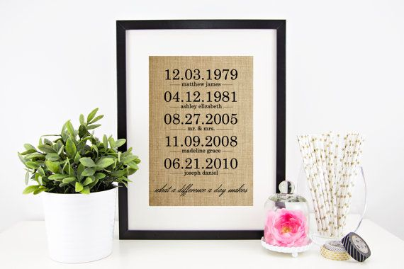 What a Difference a Day Makes Burlap Print   Mothers Day Gift   Family Dates   Personalized Family Name Sign   Anniversary Gift