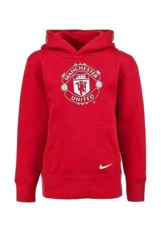 """Худи красного цвета от Nike. Модель выполнена из мягкой хлопковой ткани. Детали: свободный крой, капюшон с подкладкой, карман-кенугуру, принт с изображением эмблемы футбольного клуба Манчестер Юнайтед""""."""" http://j.mp/1pNvCUw"""