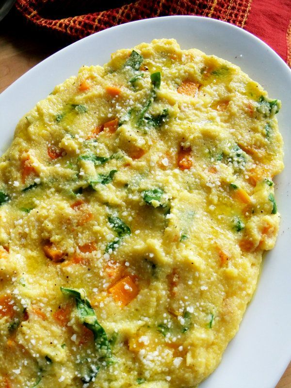 Creamy Polenta with Butternut Squash and Spinach.