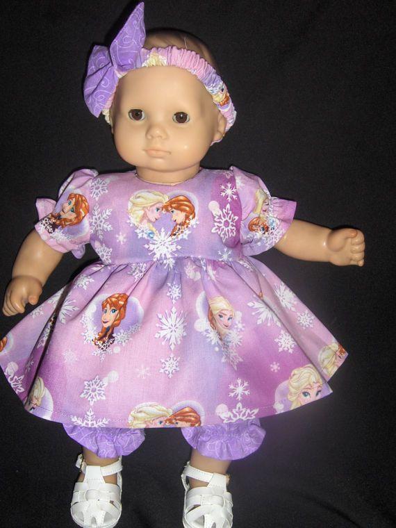 Purple Frozen Anna & Elsa Dress Panties and Headband Doll