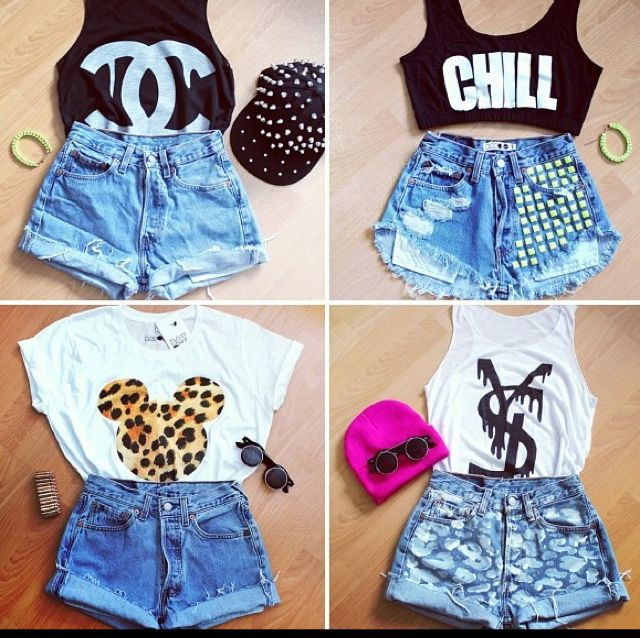 Crop top and high waisted shorts | Long summer days ...