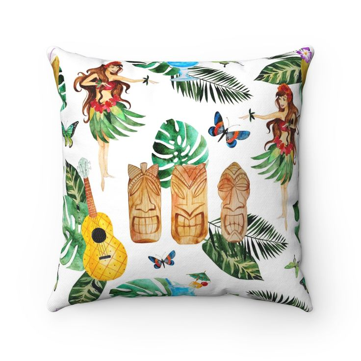 Tropical Theme Decorative Throw Pillow, Hula Girl Tropical Throw Pillow, Indoor Tropical Beach House Decor