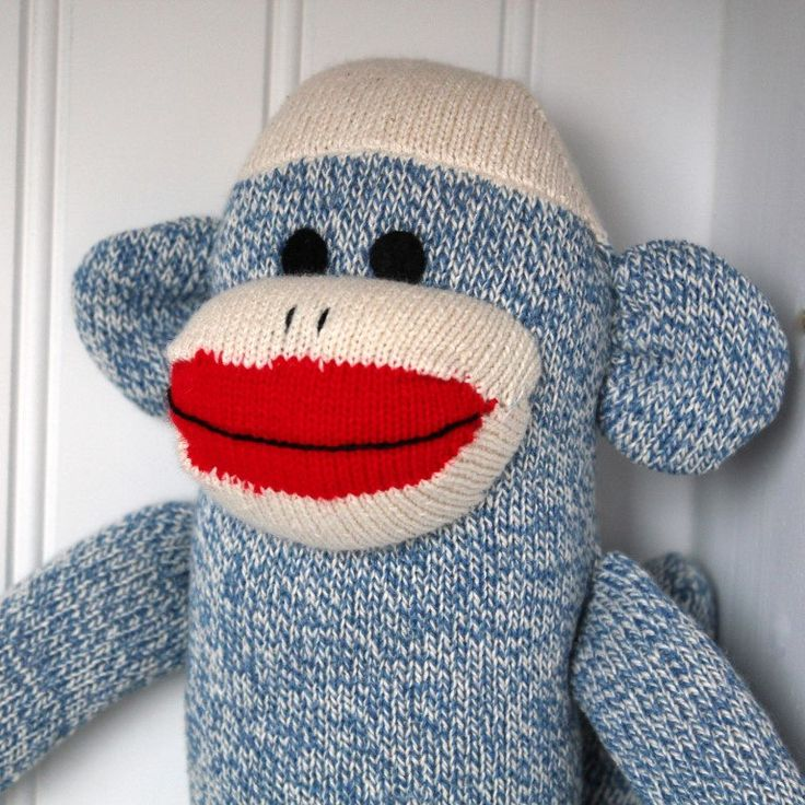 Blue Sock Monkey - Traditional Rockford Red Heel Socks by giggleFritz on Etsy