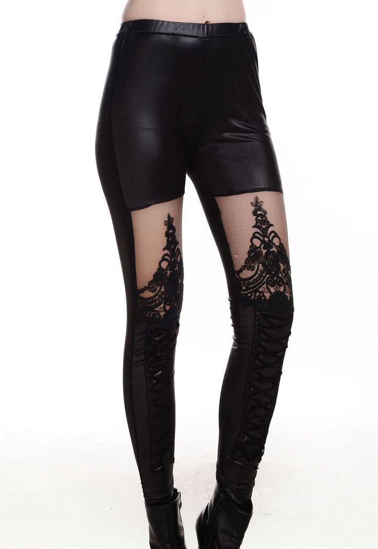 Las mujeres punk sexy de encaje negro- hasta de imitación de cuero gótico lc79311 polainas para la niña las mujeres 2014 nueva primavera leggins