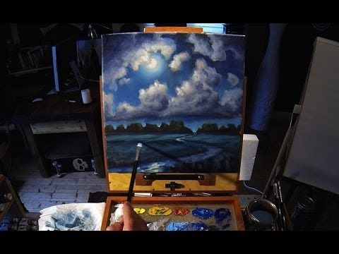 Acrylic Painting Lesson - Moonlight Cloudscape -  Preview