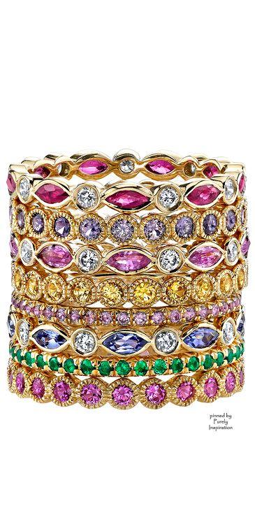 Erica Courtney Gemstone Bands (Ruby,  Diamonds, Lavender Sapphire, Pink Sapphire,Yellow Sapphire,  Tanzanite,Tsavorite, Yellow Gold) | Purely Inspiration