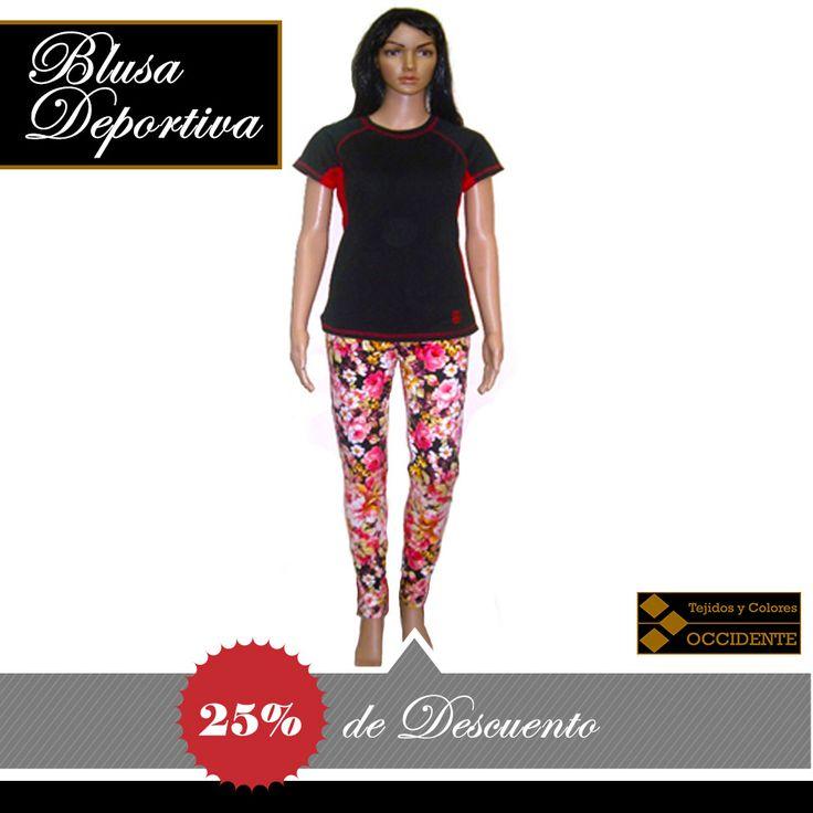 Blusa para dama deportiva y pantalón de licra. Colores: varios Talla: S, M, L, XL  Blusa deportiva, por introducción 25% de Descuento