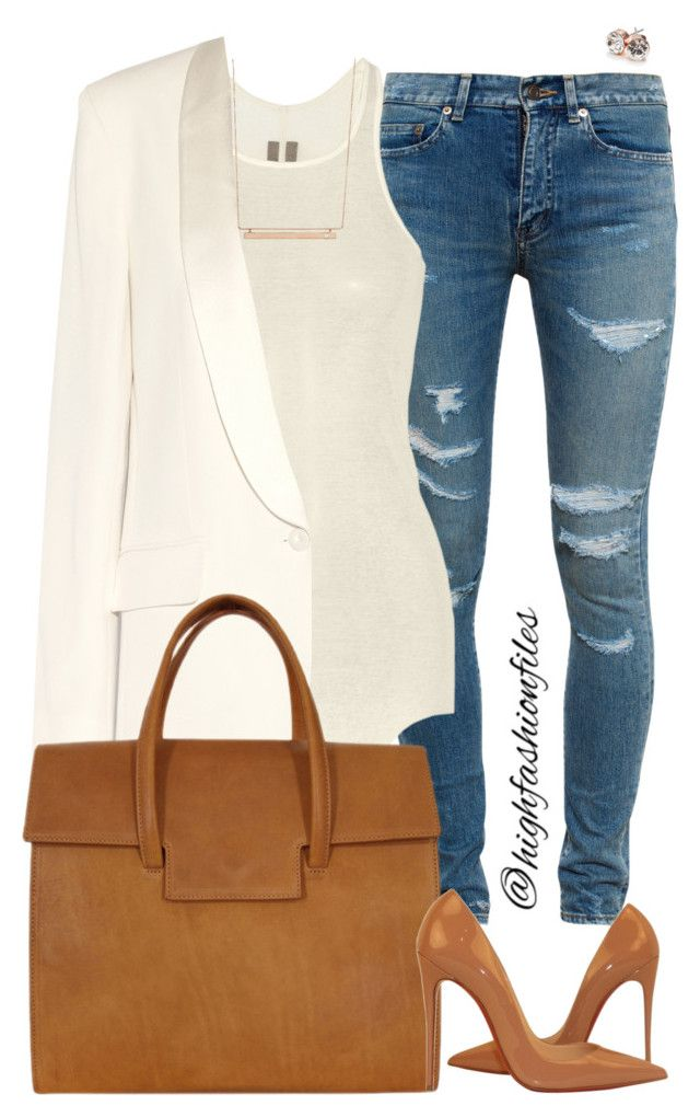 Work to Happyhour II by highfashionfiles on Polyvore featuring polyvore fashion style Rick Owens Vanessa Bruno Yves Saint Laurent Christian Louboutin Maison Margiela GUESS Monique Péan