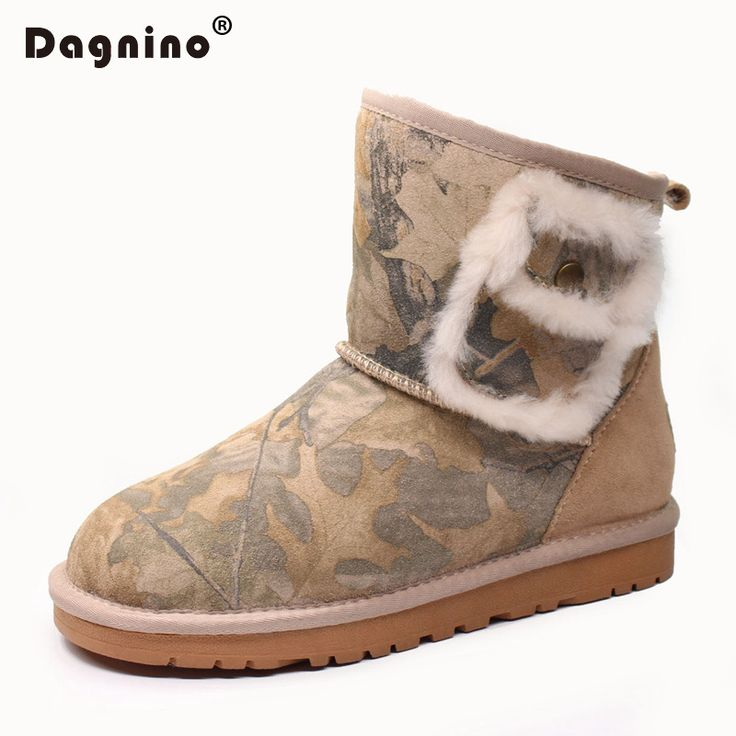 DAGNINO Fashion Quality Genuine Cowhide Leather Snow Boots Real Fur Classic Mujer Botas Waterproof Winter Ankle Shoes For Women