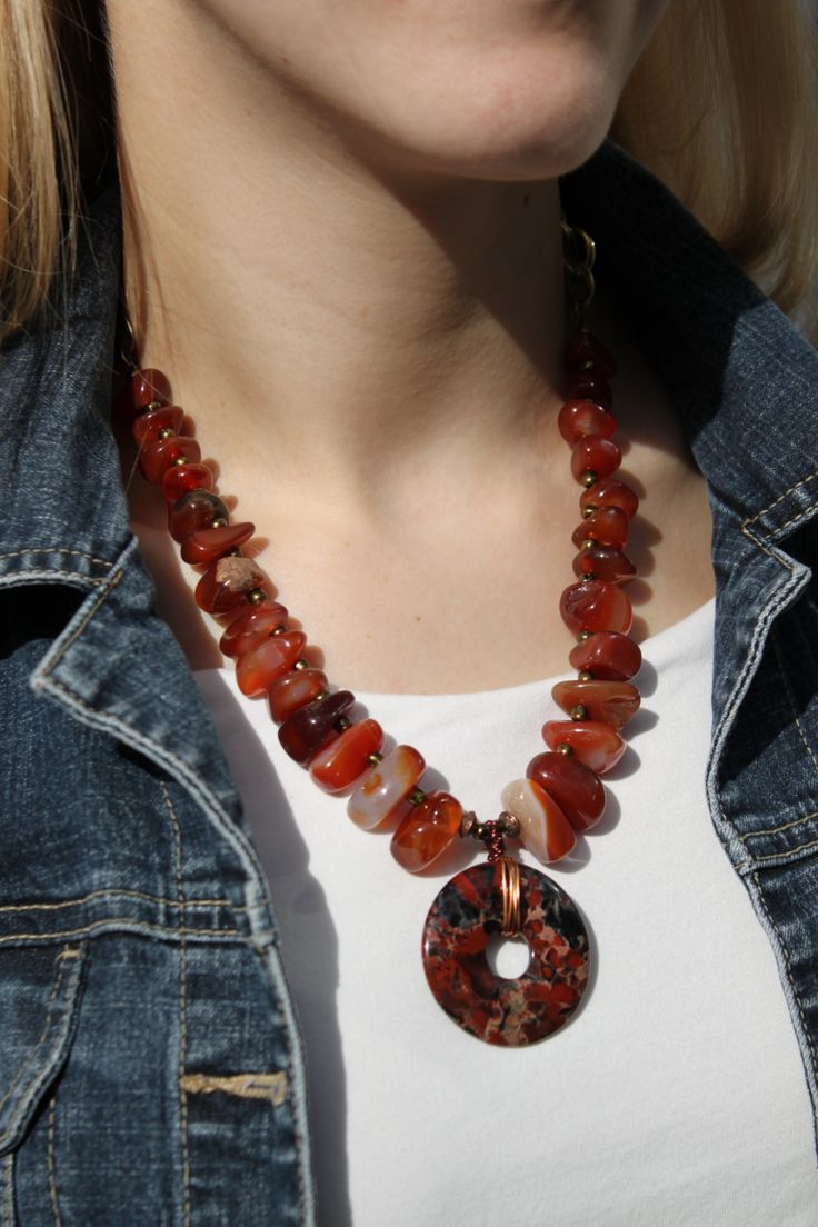 Fall Colors Red Carnelian Gemstone Artisan Made Chunky Primitive Rustic Style Natural Stone Statement Necklace w Large Jasper Pendant Unique by studiogracie on Etsy