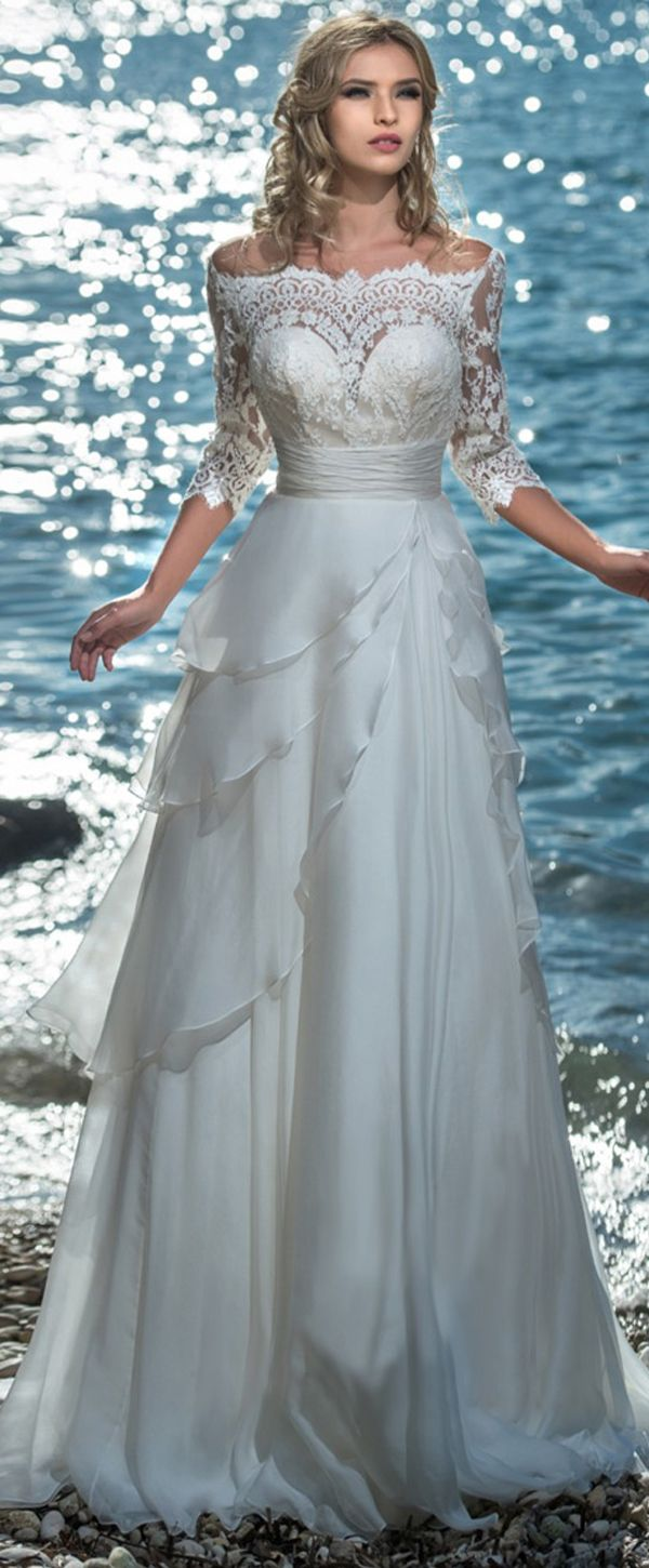 Modest Tulle & Silk-like Chiffon Bateau Neckline A-line Wedding Dress With Lace Appliques & Beadings