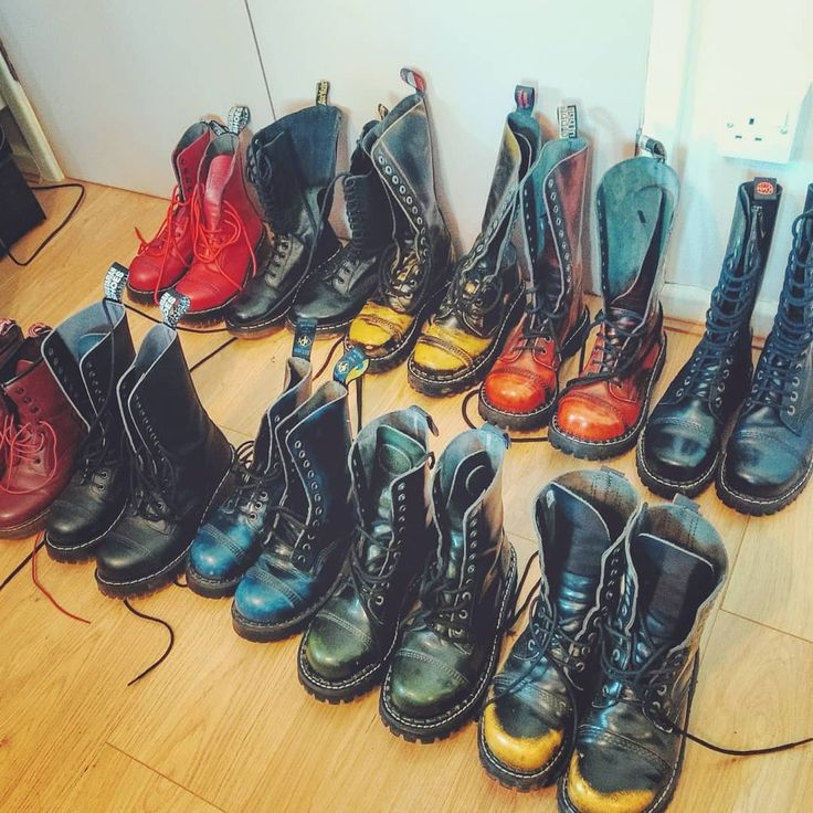 My ever growing collection of steel toe caps #steelboots #kmmboots #steadys #drmartens #vegetarianshoes #npsboots #glany #punx #punkboots #boots #steeltoe #steeltoeboots