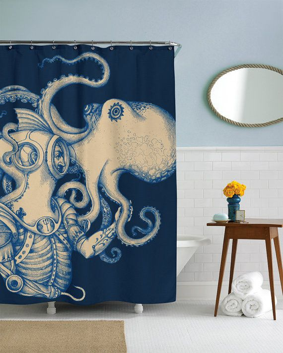 Deep Sea Discovery Shower Curtain. You thought you were hopping into your shower? -Wrong! With this nautical shower curtain, you're really exploring the deep blue with this seasoned steampunk diver. When diver meets octopus, this work of art is born.