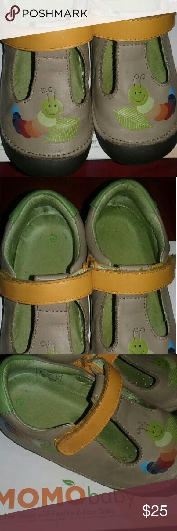 MomoBaby First Walker/Toddler Rainbow Caterpillar Leather shoes with Flexible Rubber Soles and velcro closure. SIZE 9 BOYS T STRAP IN THE COLOR TAN. Worn a handful of times last summer and in very good condition! Great for little ones who need wide width shoes as so does mine and these were not a problem. MOMObaby  Shoes Baby & Walker