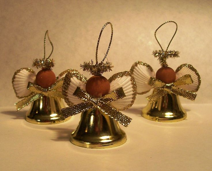 African American Angel Ornament Christmas  Bell Seashell  Set of 3