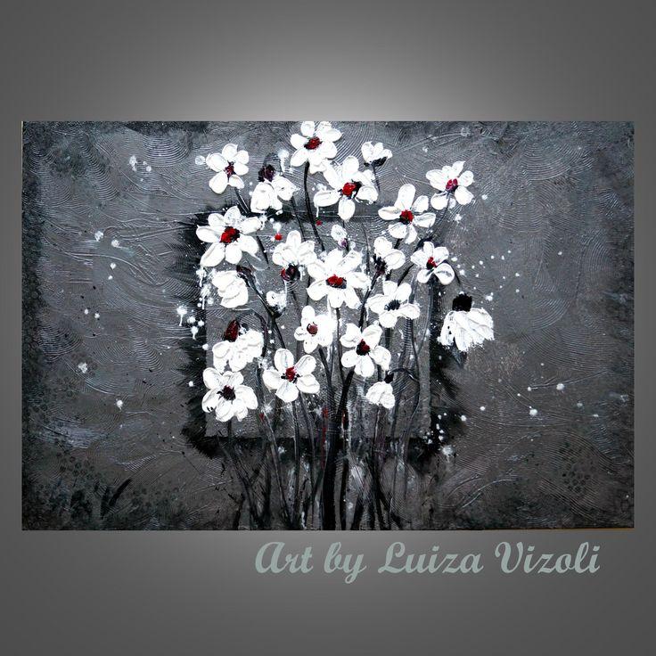 Abstract Modern Original Painting White Flowers on by LUIZAVIZOLI, $250.00