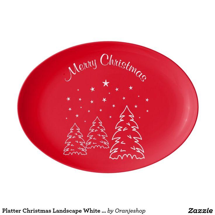 Platter Christmas Landscape White – Own Color Porcelain Serving Platter