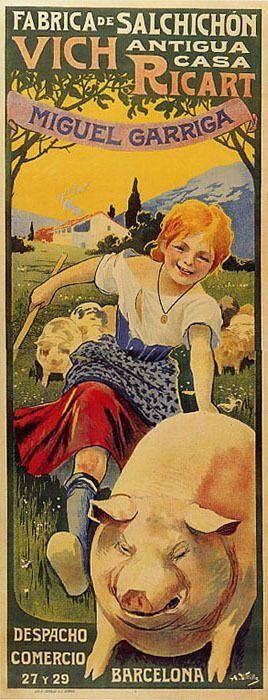 SAUSAGE PIG GIRL BARCELONA SPAIN VINTAGE POSTER REPRO LARGE #Vintage: