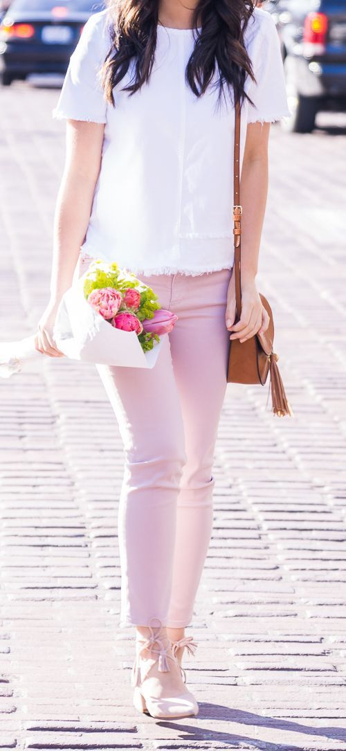Pink jeans outfit, AG Jeans sateen prima crop, cute summer outfit, petite fashion blog
