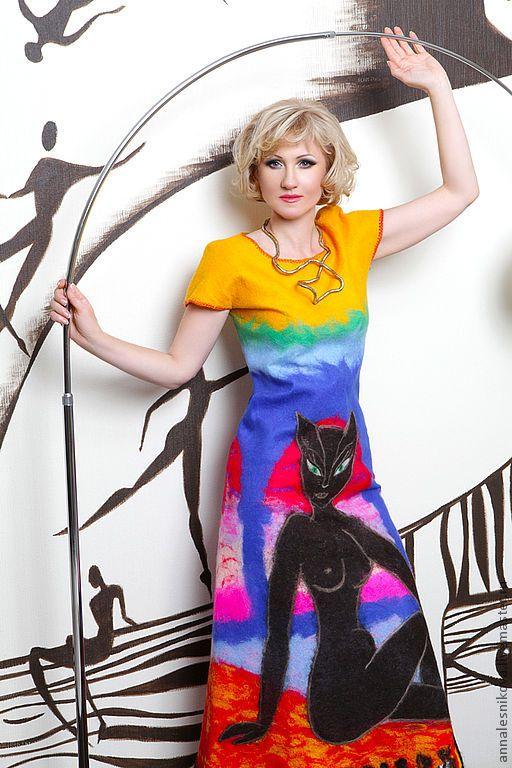 """Купить Платье """"Египетская Богиня"""" - войлок от кутюр, платья валяное, войлочное платье, эксклюзив"""
