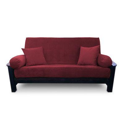 Simoes Solid Box Cushion Futon Slipcover Upholstery Merlot Size King Https