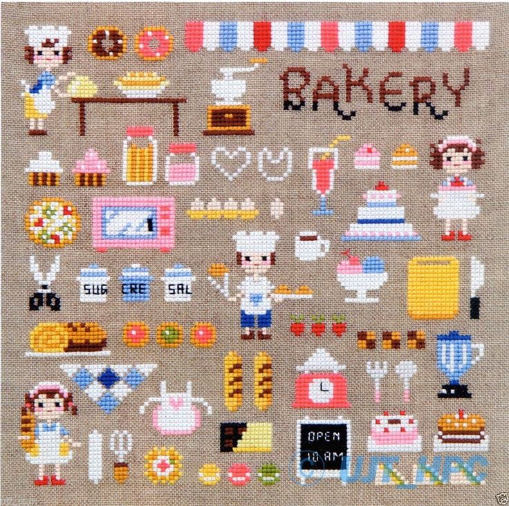 """Mini Bakery"" Counted cross stitch chart.(pattern leaflet)"
