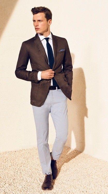 Dark brown suit jacket grey trouser combo