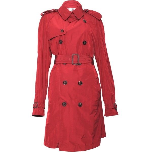 Pre-owned Burberry Belted Trench Coat ($210) ❤ liked on Polyvore featuring outerwear, coats, red, trench coat, double breasted belted coat, burberry, burberry coat and double-breasted coat