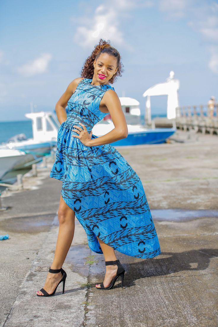 asimetrik elbise pamuk balmumu Afrika peştamâl: bikeli tarafından Elbise